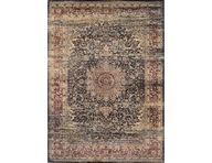 Zahara Lotus Medallion Black Area Rug