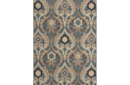 Catalina Flower Scroll Blue Area Rug