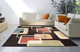 Catalina Interwoven Squares Brown Area Rug