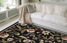 Optimum Flowers Black Area Rug