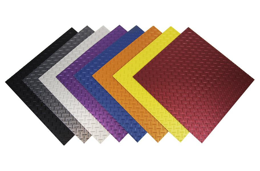 Tread plate vinyl tiles durable diamond plate vinyl tiles for Diamond plate laminate flooring