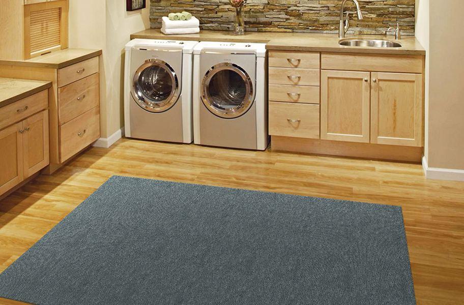 ribbed smoke grey area rug