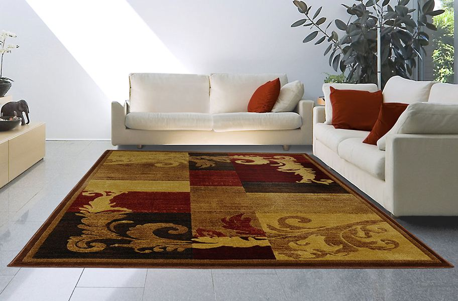 Catalina Abstract Feather Brown Area Rug