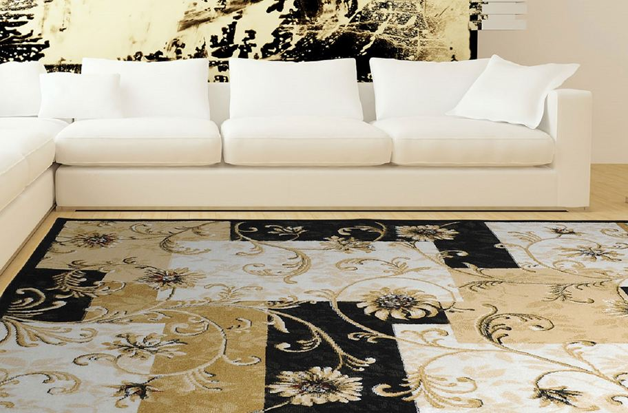Optimum Floral Blocks Black Area Rug