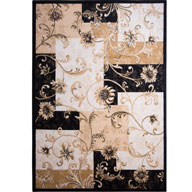 Floral Blocks BlackOptimum Floral Blocks Black Area Rug