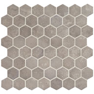 Artifact GrayDaltile Vintage Hex Glass Mosaic