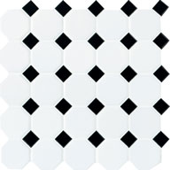 White Octagon/ Black Gloss DotDaltile Octagon Dot
