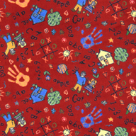 Red Joy Carpets Scribbles Kids Rug