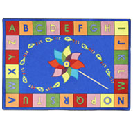 Primary Joy Carpets Alphabet Pinwheel Kids Rug