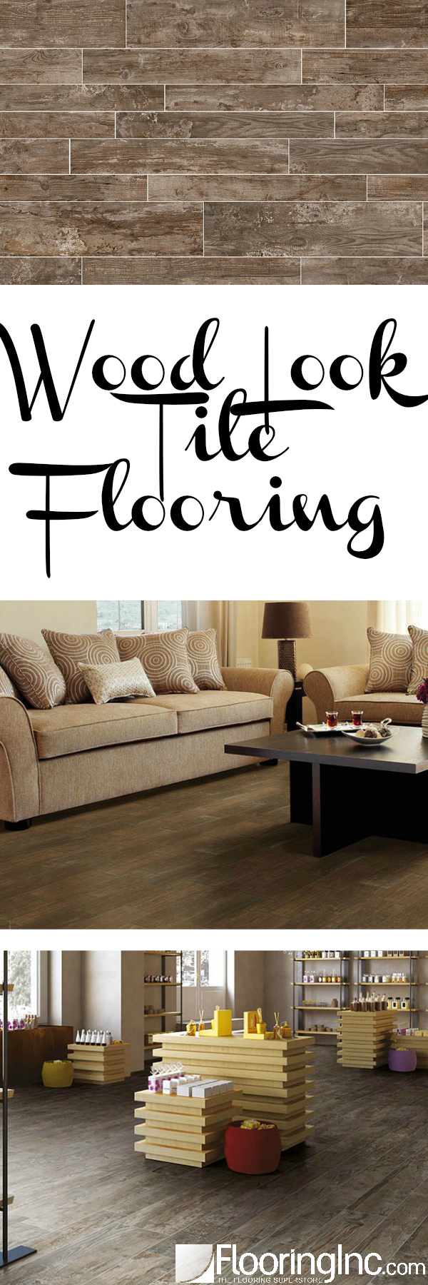 Get the look of wood with the durability of tile with Wood Look Tile Flooring