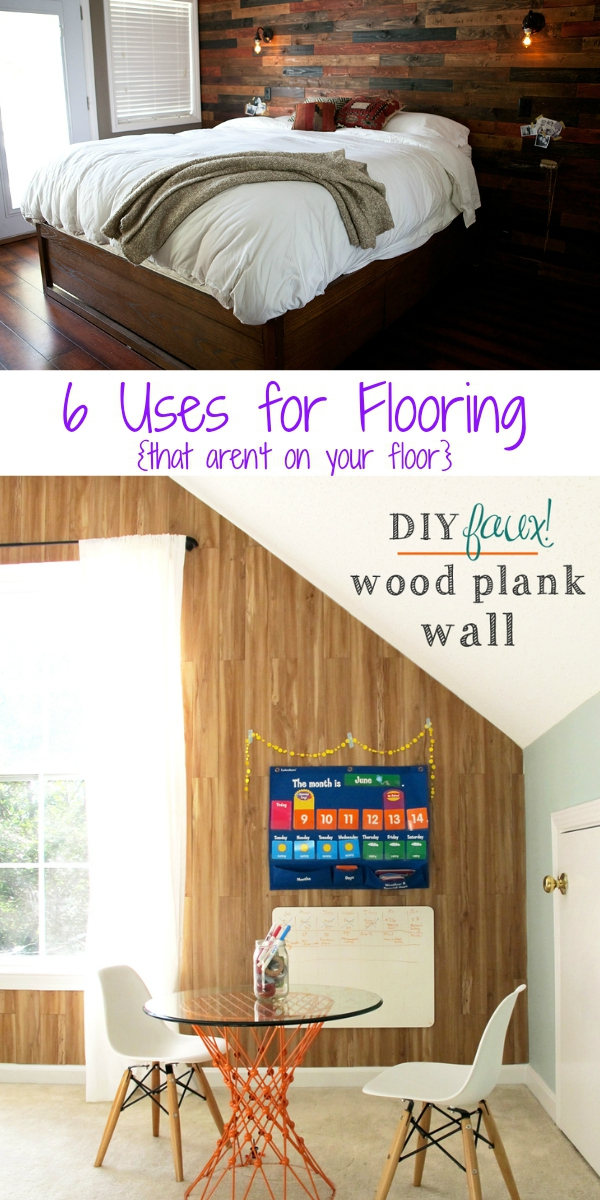 Use wood, vinyl, tile and more to create accent walls, shelves and other unique designs in your house. Flooring: not just for your floor.