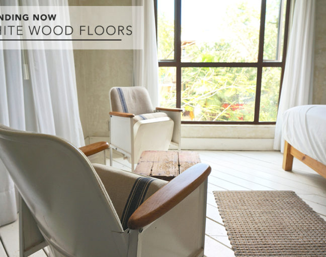 White Wood Floors: Get inspired to try this bright, fresh trend of white wood flooring in your home. Make your rooms appear bigger and brighter with a floor that can match any design or decor.