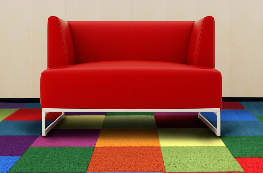colorful carpet tiles in a playroom setting
