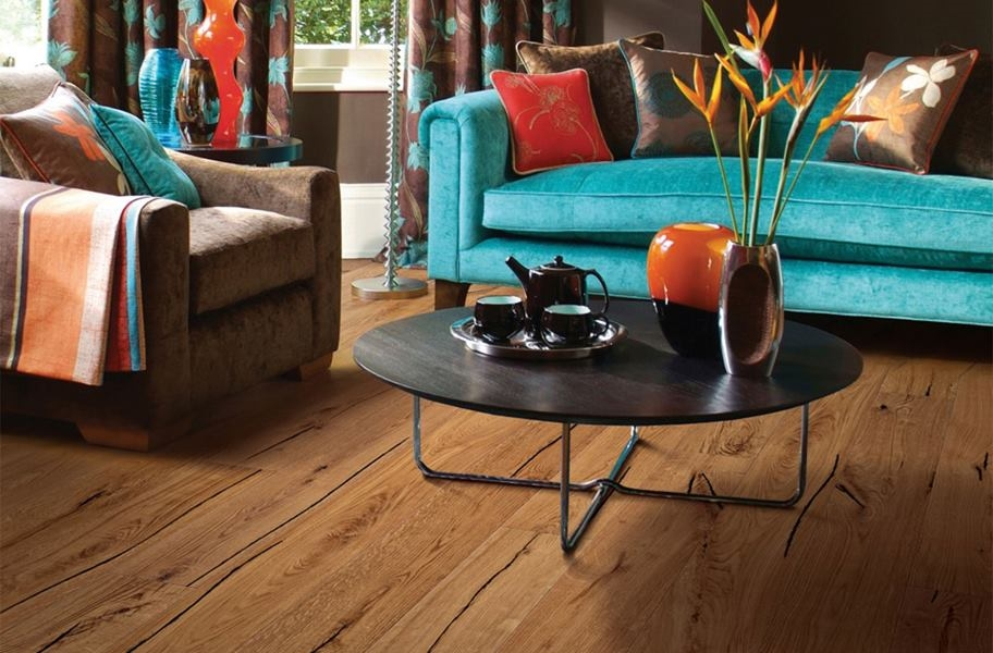 Engineered wood flooring in a living room