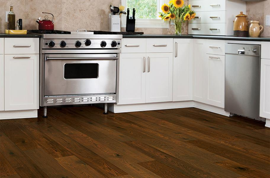 Engineered hardwood flooring in a kitchen setting