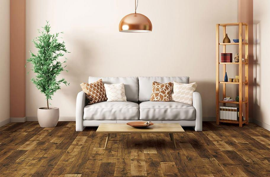 FlooringInc engineered hardwood flooring in a den