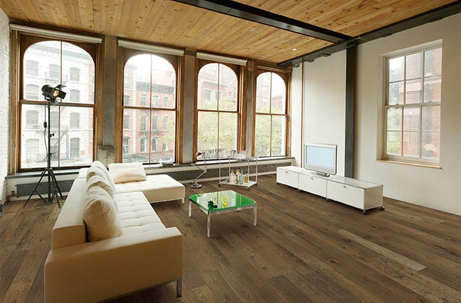 Engineered wood flooring in a loft setting