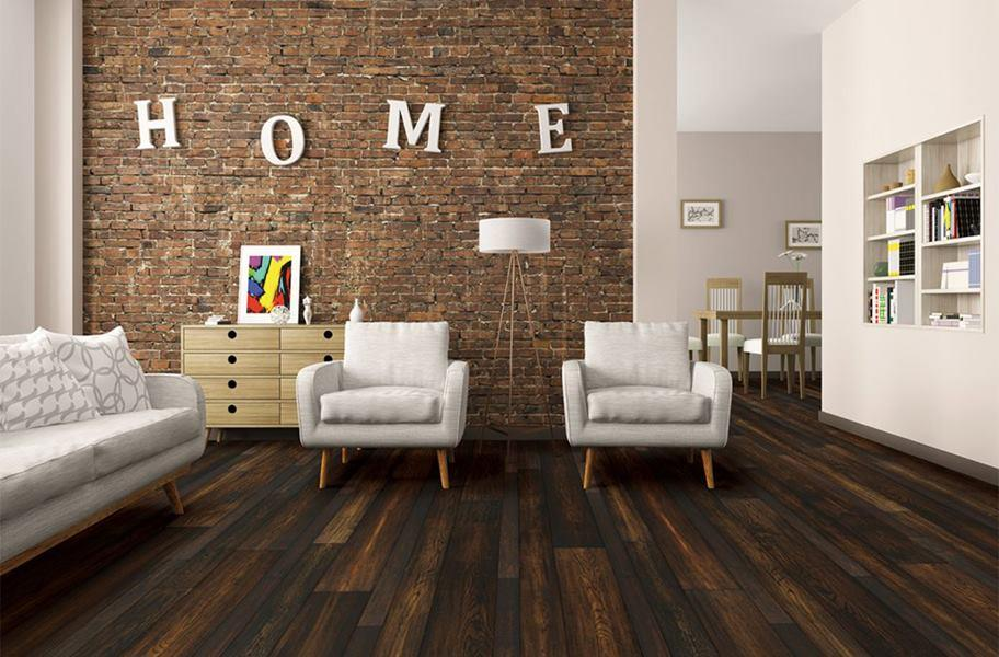 FlooringInc engineered hardwood vs. hardwood in a living room setting