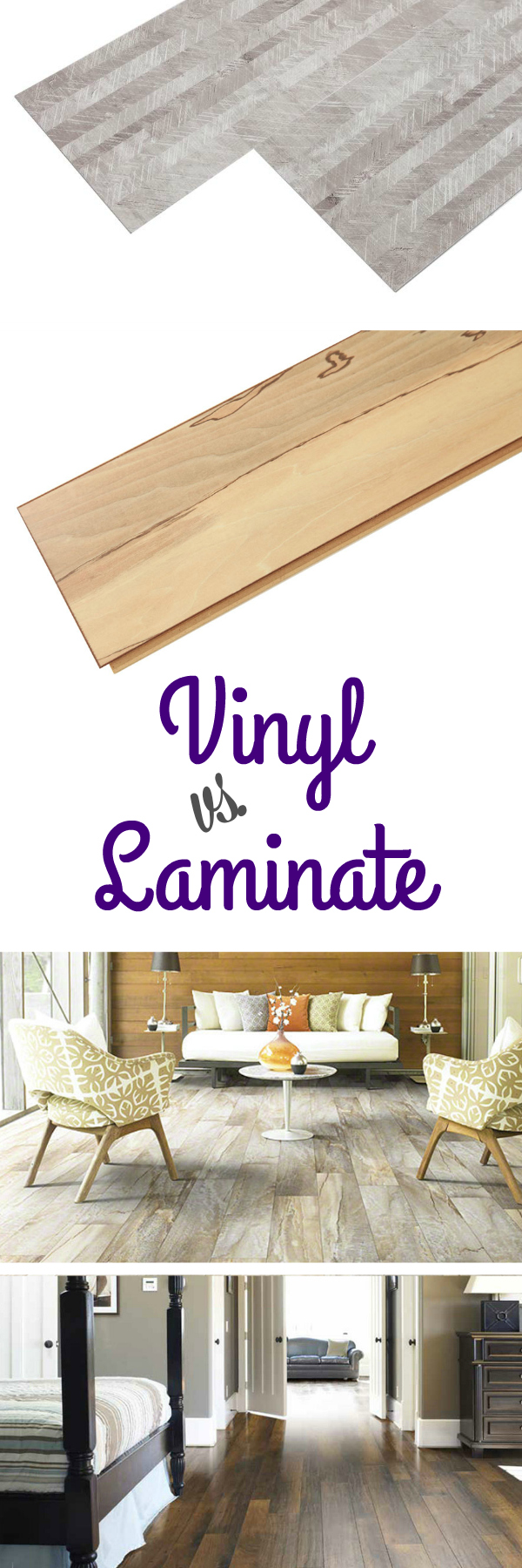 Vinyl vs. Laminate Flooring: Many people don't know the difference between vinyl flooring and laminate flooring. Learn the pros and cons of each category broken down from everything from cost to effect on environment. Choose the best wood or stone look option for you with this helpful flooring guide.