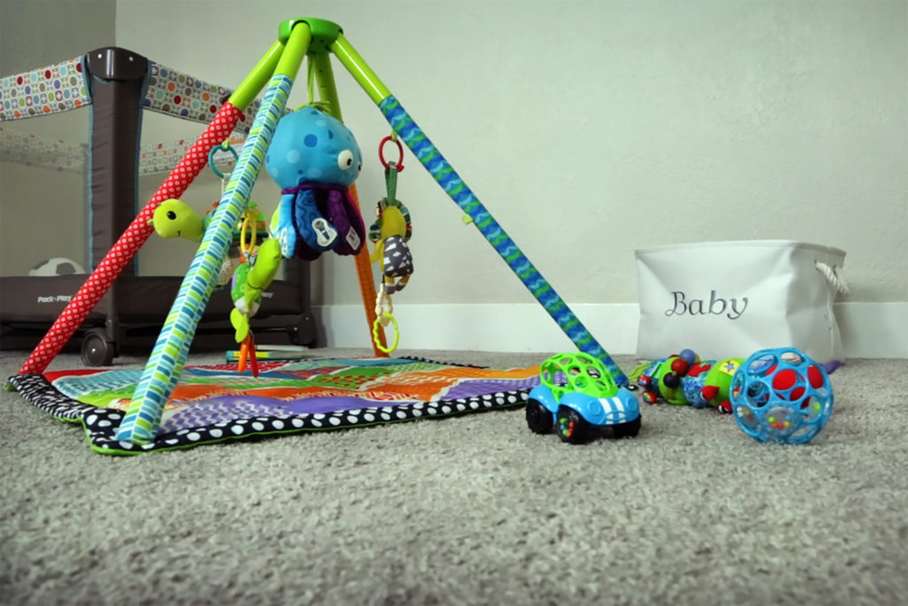 Baby room carpet and toys