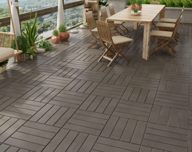 composite deck tiles in a porch setting