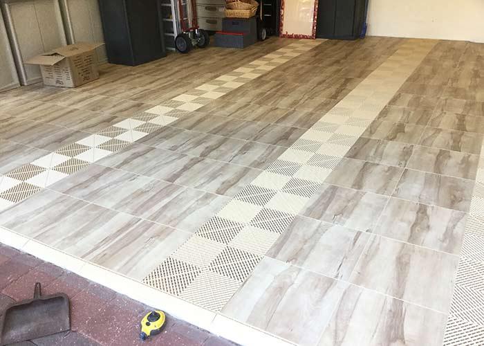Rustic garage-swisstrax garage tiles