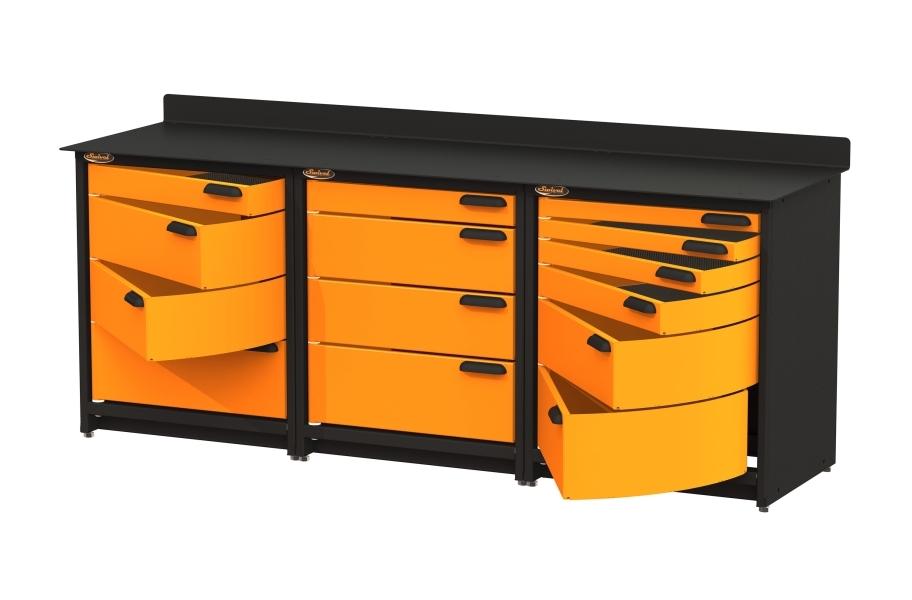 Swivel Storage Workbench w:Drawers - Triple