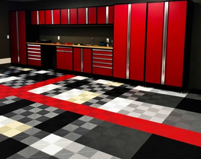 black and red vinyl tiles in a garage