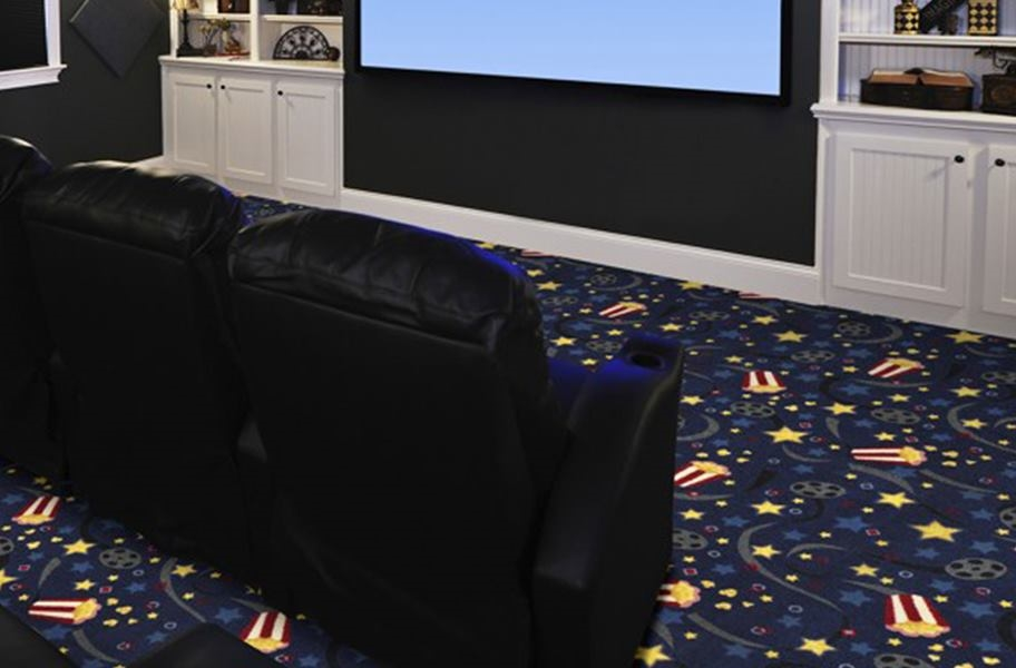 Home Theater Carpet Guide: cinema themed carpet in an entertainment room