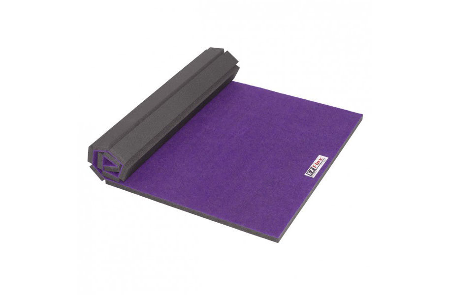 Purple home cheer gymnastics mat on a white background