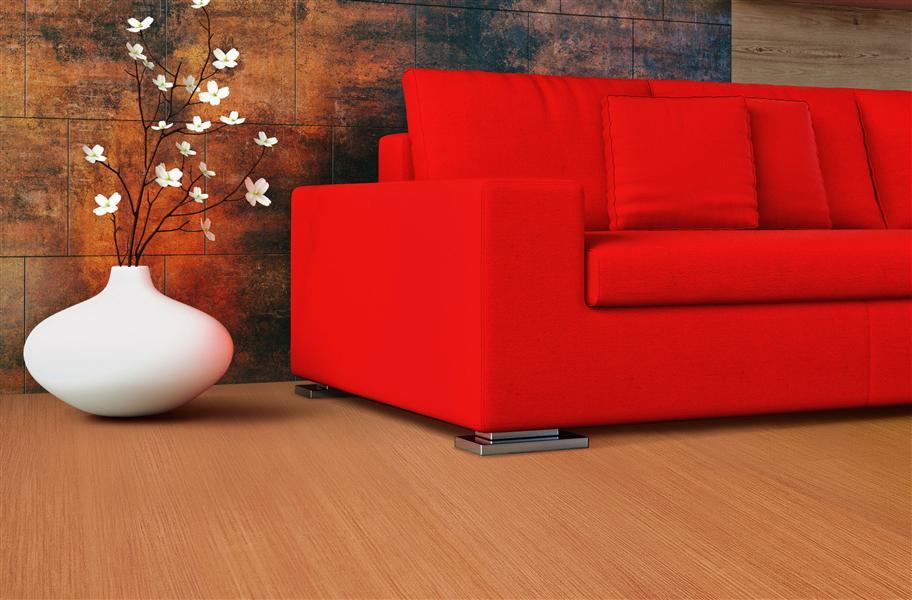 wood-look vinyl tiles in living room