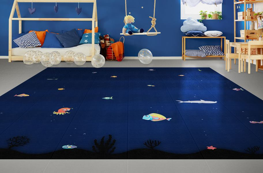 Aquarium Flex vinyl tiles in child's bedroom