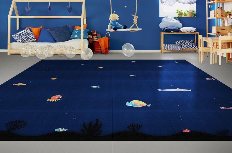 Aquarium Flex vinyl tiles in child's bedroom