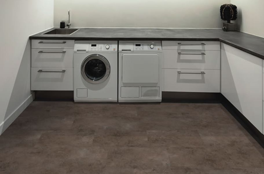 Waterproof LVT flooring in a laundry room.