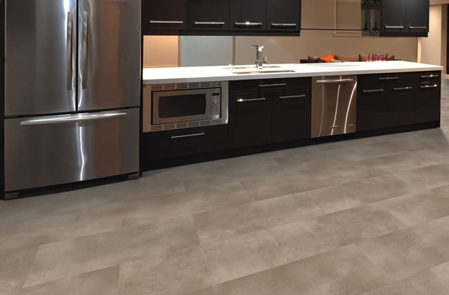 waterproof vinyl stone-look tiles in a kitchen setting
