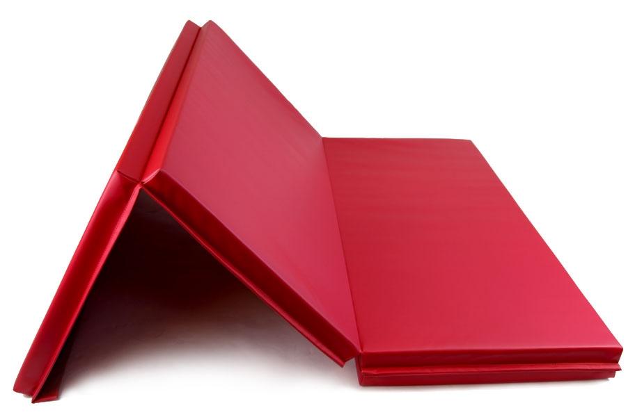 Red folding gymnastics mat
