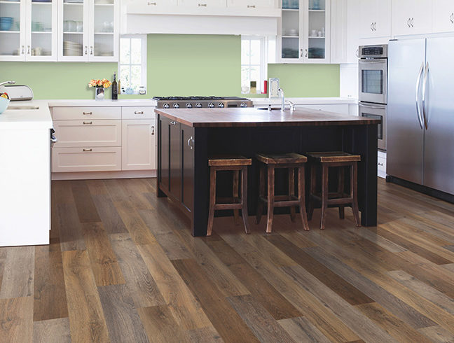 Waterproof vinyl flooring in kitchen setting