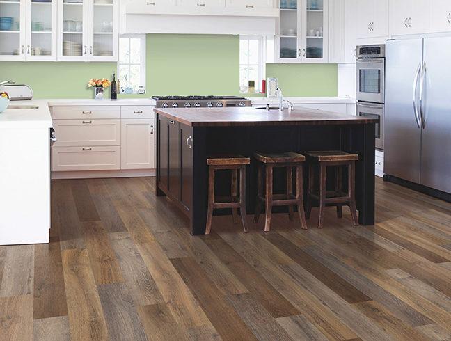 Waterproof vinyl flooring in kitchen setting