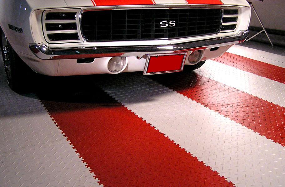 Diamond flext tiles garage pvc tile in red and white