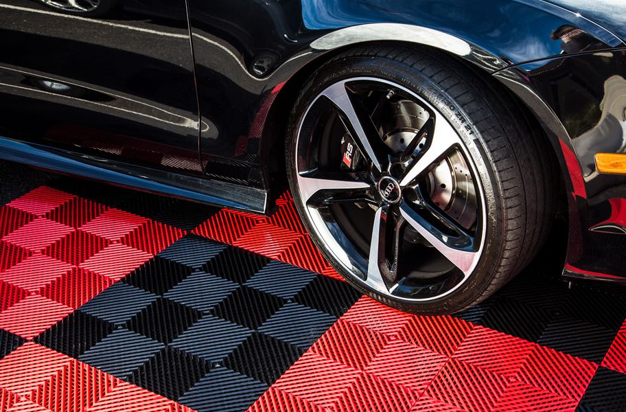 black and red garage nitro tiles vented