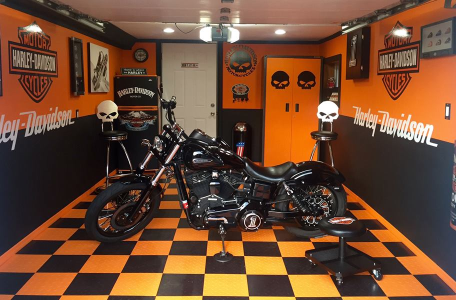 orange and black octane tiles in a garage