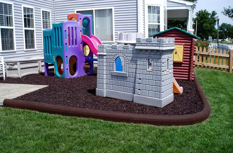playground rubber mulch in backyard