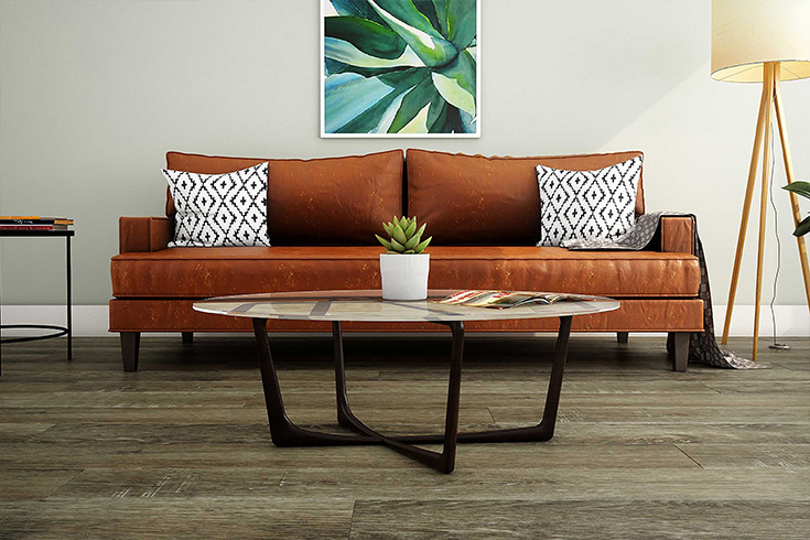 rigid core luxury vinyl flooring in living room setting