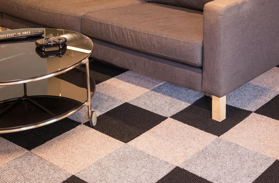 Checkered Berber carpet in a living room setting