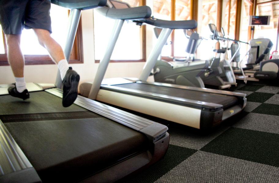 gym carpet tile installation with treadmills