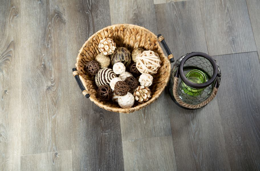 waterproof vinyl flooring with bowl of decorative materials