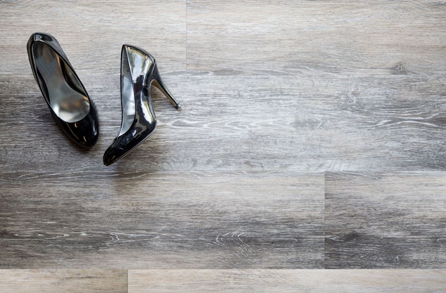 vinyl plank flooring with black heels