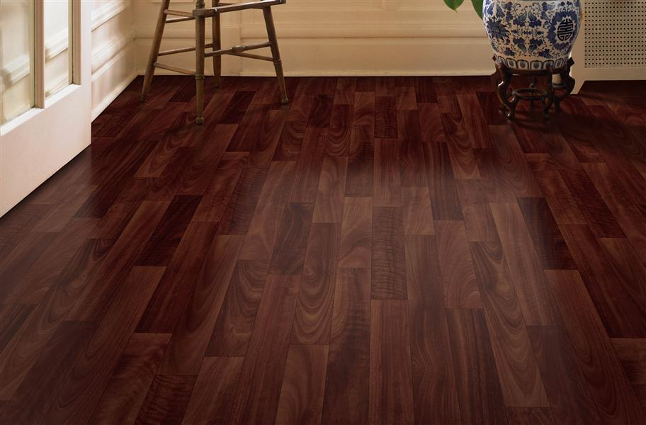 sheet vinyl flooring in dark wood