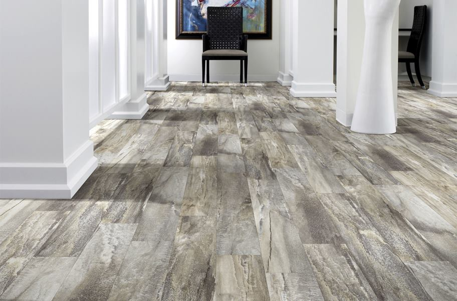stone-look vinyl plank flooring in entryway