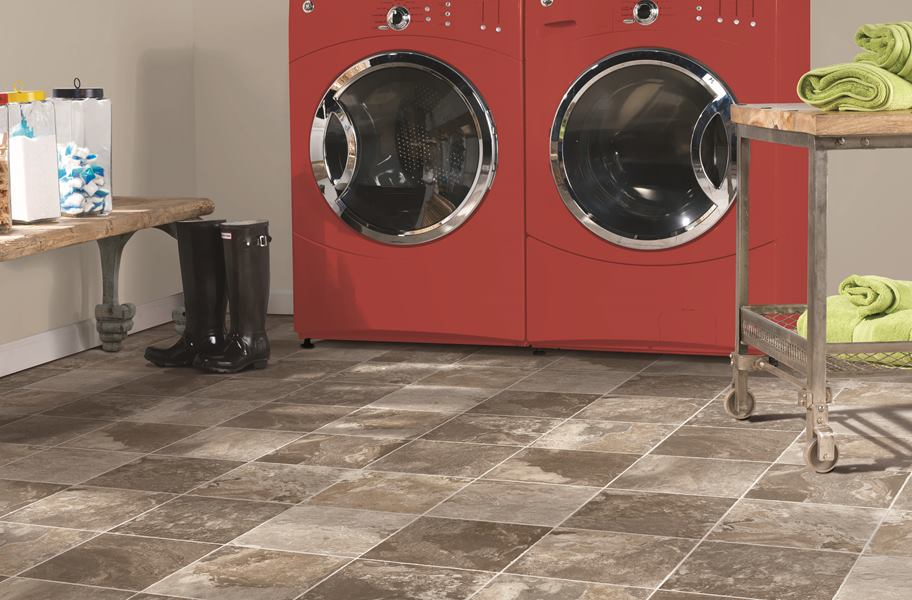 sheet vinyl flooring in laundry room